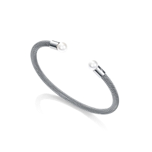 Pulsera de acero MESH tubular con perlas