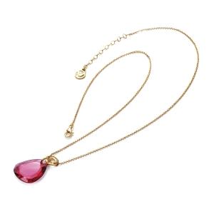 Gargantilla de plata con baño oro rosa y cristal rosa