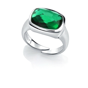 Anillo Jewels de plata con circonita color verde