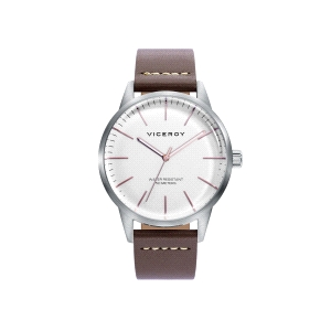 Reloj hombre de piel marrón BEAT y esfera blanca