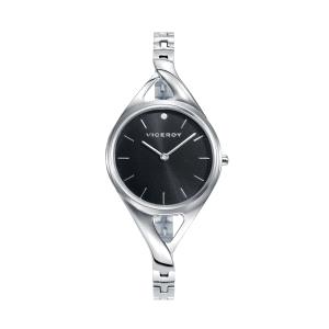 Reloj mujer Air de acero con esfera negra-401058-57