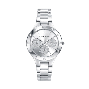 Reloj mujer CHIC plateado con purpurina