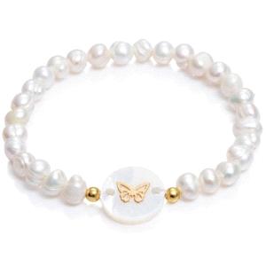 Pulsera de niña con perlas blancas