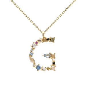 Colgante plata dorada letra G