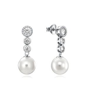Pendientes mujer CLASICA de plata con perlas y circonitas
