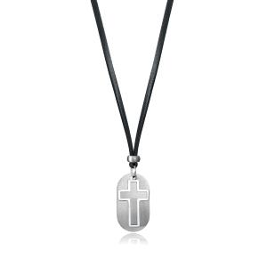 Colgante de hombre FASHION de acero con placa y cruz