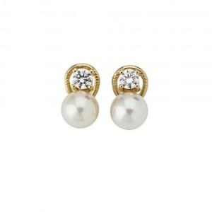 Pendientes Mujer dorado con circonita y perla