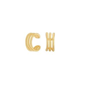 Ear Cuffs de plata con baño de oro Volumen Collection
