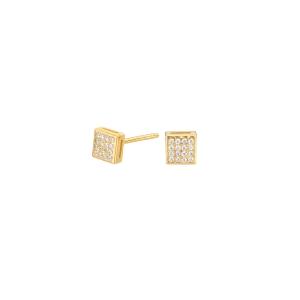 Pendientes botón plata con baño de oro y circonitas en cuadrado