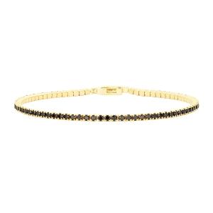 Pulsera Riviere Tennis de plata con baño de oro y circonitas-19 cm