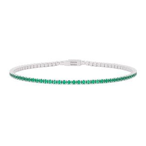 Pulsera riviere Tennis de plata con circonitas verde