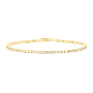 Pulsera Tennis Riviere de plata con baño de oro y circonitas-17 cm