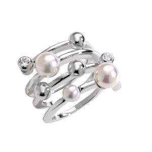 Anillo de plata con circonitas y perlas