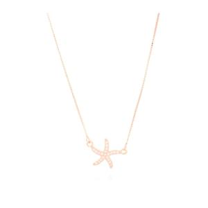 Colgante estrella de plata con baño de oro rosa NYIKA