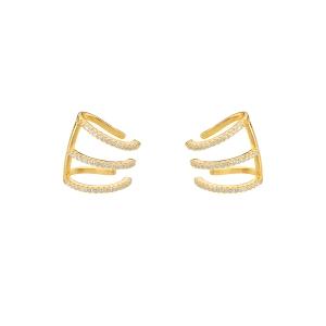 Pendientes ear cuffs de plata con baño de oro