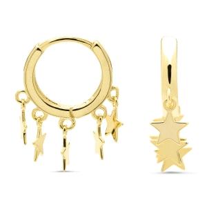 Pendientes Ruthcia de plata dorada con charms