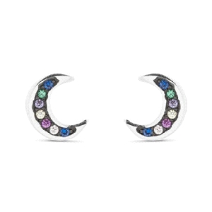 Pendientes Sonter plata luna tumbada cuajada de circonitas multicolor