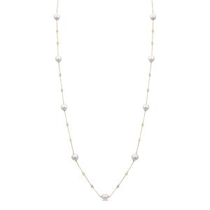 Collar largo BAKHT de plata dorada con perlas