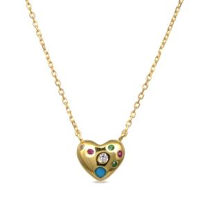 Colgante de plata con baño de oro en forma de corazón