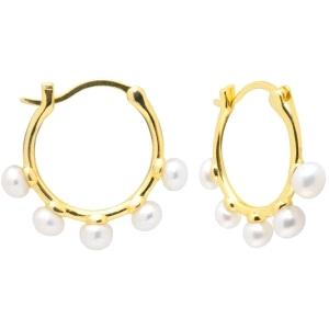 Pendientes Aros de plata con baño de oro y perlas