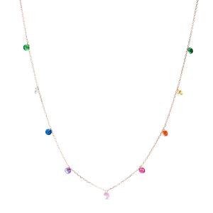 Collar Rolcon en plata bañada en Oro Rosa con Circonita multicolor