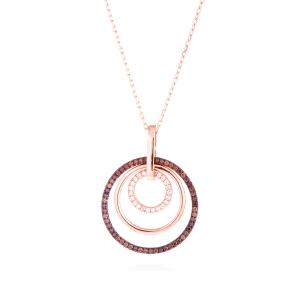 Colgante Delerex de plata bañada en oro rosa formado por una hermosa combinación multicolor de círculos de circonita marrón y br