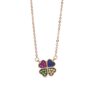 Collar Sokha en Plata bañada en Oro Rosa y Circonita Multicolor
