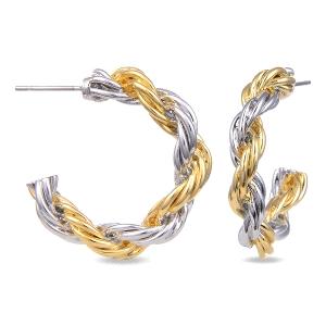 Aros Bakhau retorcidos de metal bicolor