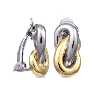 Pendientes Nebhed de metal bicolor cierre clip