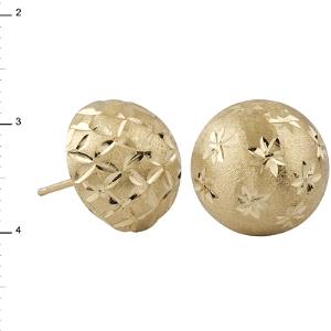 Pendientes Oro 18kt media bola tallada con cierre a presión