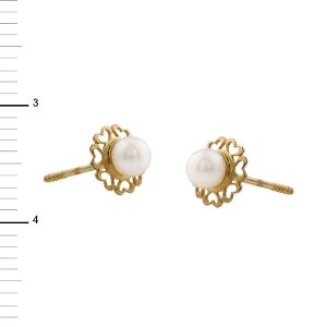 Pendientes Oro 18kt con perla cultivada en forma de flor