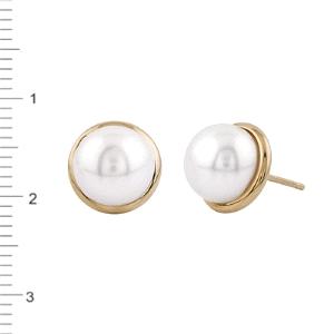 Pendientes de perla boton 8MM con oro 18KT cierre presión