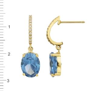 Pendientes Oro 18KT con circonitas azul topacio