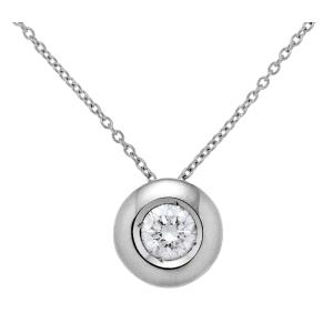 Gargantilla Oro blanco 18kt con diamante chatón 0.13kt