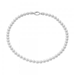 Collar de plata con perlas blancas clásicas