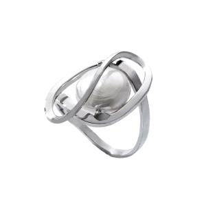 Anillo Corcega de plata con perla aplastada