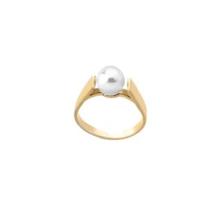 Anillo de plata dorado con perla blanca