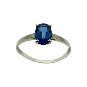 Solitario de zafiro azul oval montado en Oro 18kt