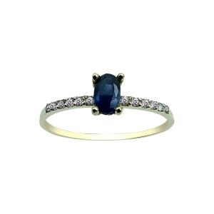 Anillo Oro 18kt con zafiro azul ovalado y circonitas