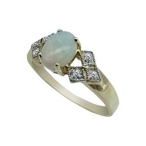 Anillo de Oro 14kt con Opalo y diamantes