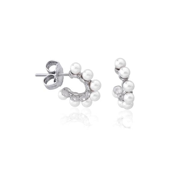 """Pendientes """"Ada"""" de perlas forma aro cierre presio"""