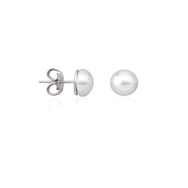 Pendientes Lyra Mabe Perla aplastada 8mm y plata