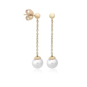 Pendientes largos de perla con plata y baño de oro