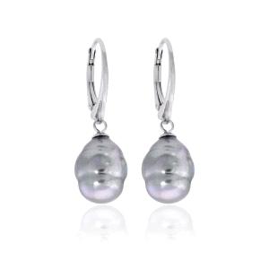 Pendietes de plata LYRA de perla barroca gris