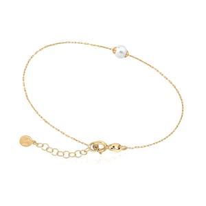 Pulsera CIES de plata con baño de oro y perla