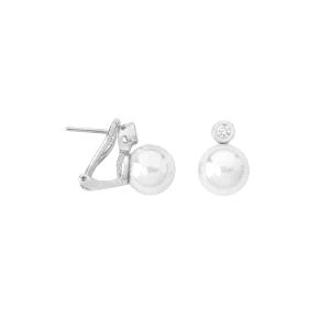 Pendientes TU Y YO de plata con circonitas y perla