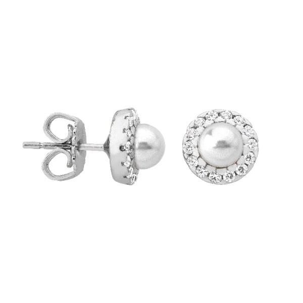 Pendientes media perla con orla de plata