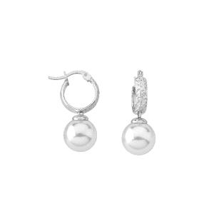 Pendientes HOOP de plata tallada con perla blanca