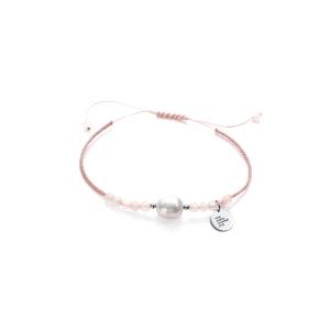 Pulsera de plata con perla natural y cuarzo