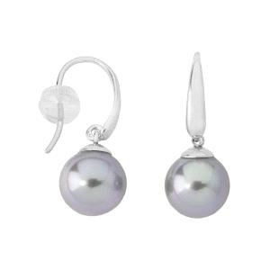 Pendientes Lyra con perlas gris cierre gancho